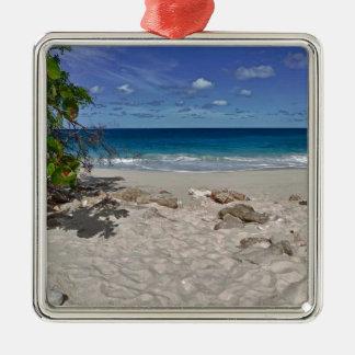 Cena da praia ornamento quadrado cor prata