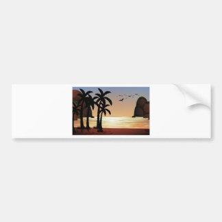 Cena da silhueta da praia adesivo para carro