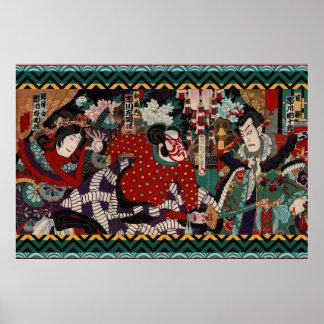 Cena de batalha colorida do samurai de Kabuki do Poster