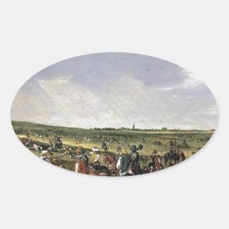 Cena de batalha em uma paisagem aberta adesivo oval