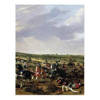 Cena de batalha em uma paisagem aberta cartão postal