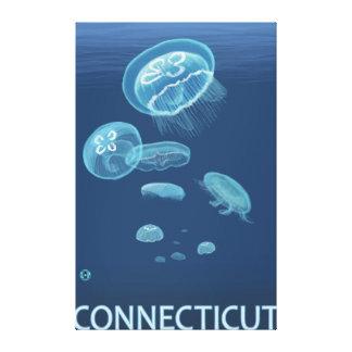 Cena de ConnecticutJellyfish Impressão De Canvas Envolvidas
