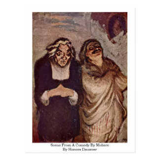 Cena de uma comédia por Moliere por Honore Daumier Cartão Postal