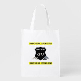Cena do crime da polícia sacolas reusáveis
