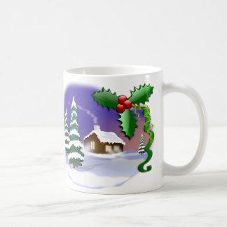 Cena do Natal do inverno Caneca De Café