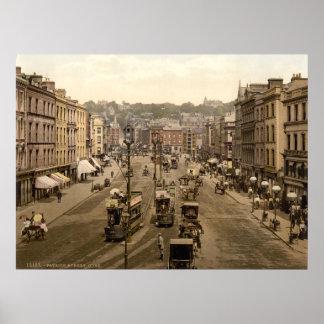 Cena do século XIX da rua de Ireland da cidade da Poster