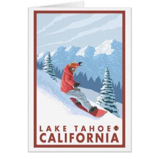 Cena do Snowboarder - Lake Tahoe, Califórnia Cartão De Nota