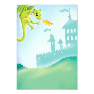 cena impetuosa bonito do dragão e do castelo convites personalizados