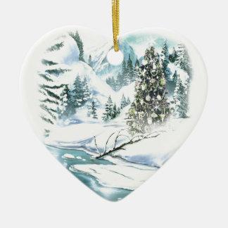 Cena nevado do Natal Ornamento De Cerâmica Coração