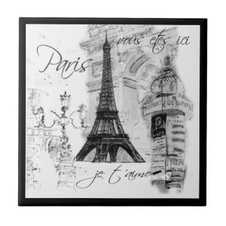 Cena preta & branca de Paris da torre Eiffel da ru Azulejo Quadrado Pequeno