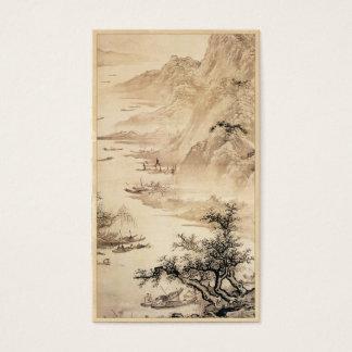 Cenário da paisagem da pintura de Sumi-e do chinês Cartão De Visitas