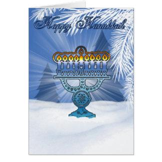 cenário do inverno do cartão do hannukah