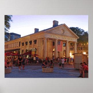 Centro histórico Boston do mercado de Quincy Poster
