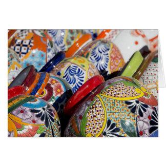 Cerâmica mexicana pintado à mão tradicional cartão comemorativo