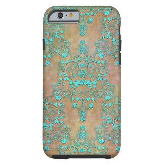 Cerceta do Aqua sobre o design do damasco do Capa Tough Para iPhone 6