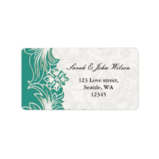 Cerceta e design floral branco do casamento do etiqueta de endereço