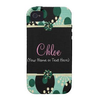 Cerceta feminino e bolinhas capa para iPhone 4/4S