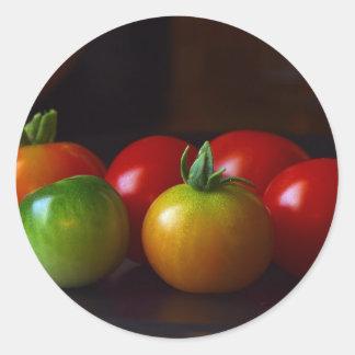 cereja-tomatos adesivo em formato redondo