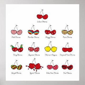 Cereja vermelha insolente engraçada cómica das cer posteres