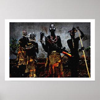 Cerimónia africana da caça posters