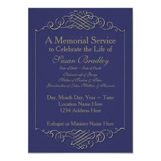 Cerimonia comemorativa dourada elegante do quadro convite 11.30 x 15.87cm
