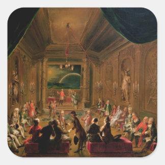 Cerimónia da iniciação em um maçónico vienense adesivo quadrado