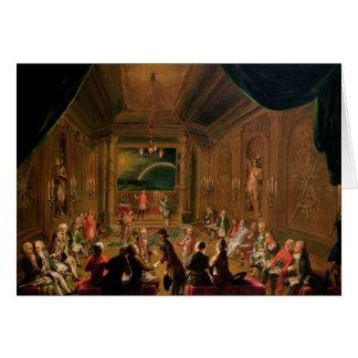 Cerimónia da iniciação em um maçónico vienense cartão comemorativo