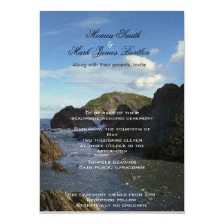 Cerimónia de casamento perto da praia convite 12.7 x 17.78cm