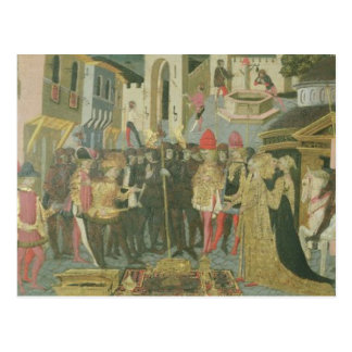 Cerimónia de casamento pintada no painel do cartão postal