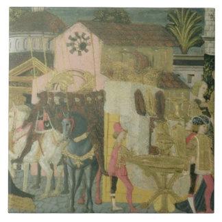 Cerimónia de casamento pintada no painel do casson azulejo de cerâmica