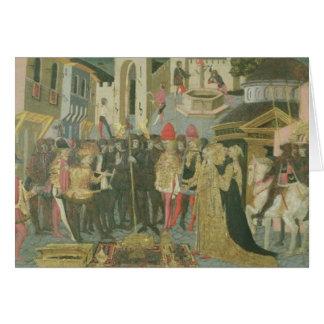 Cerimónia de casamento pintada no painel do casson cartão