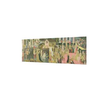 Cerimónia de casamento pintada no painel do casson impressão de canvas envolvidas