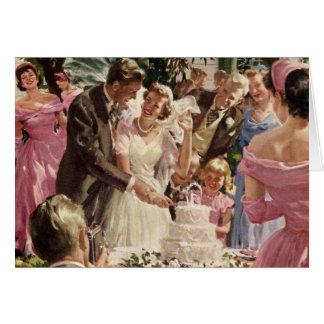 Cerimónia de casamento vintage cartão comemorativo