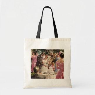 Cerimónia de casamento vintage sacola tote budget