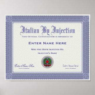 Certificação do italiano por injecção engraçada poster