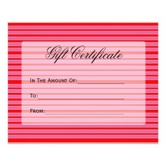 certificado de presente listrado cor-de-rosa verme flyer 11.43 x 14.22cm