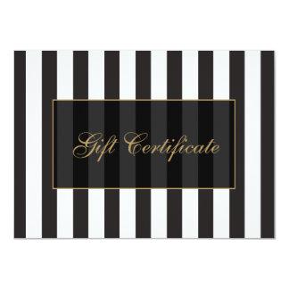 Certificado de presente preto e branco do salão de