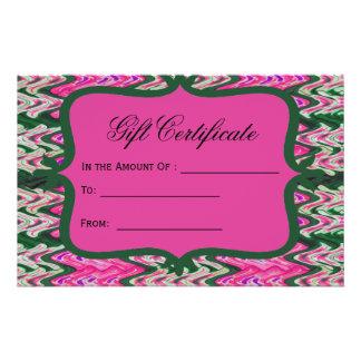 Certificado de presente verde cor-de-rosa brilhant flyer 13.97 x 21.59cm