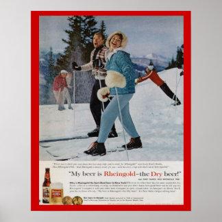 Cerveja de Rheingold dos esportes de inverno do vi Pôster