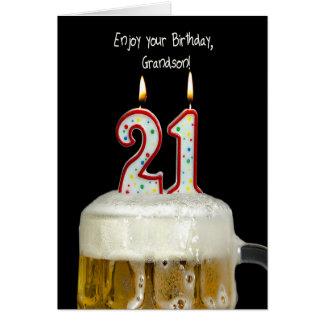 Cerveja do aniversário de 21 anos para o neto cartão comemorativo