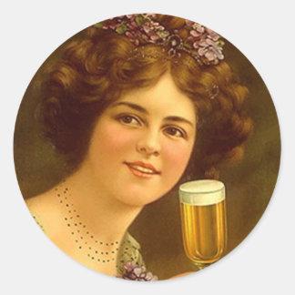 Cerveja do Stemware do anúncio do vintage da Adesivos Em Formato Redondos