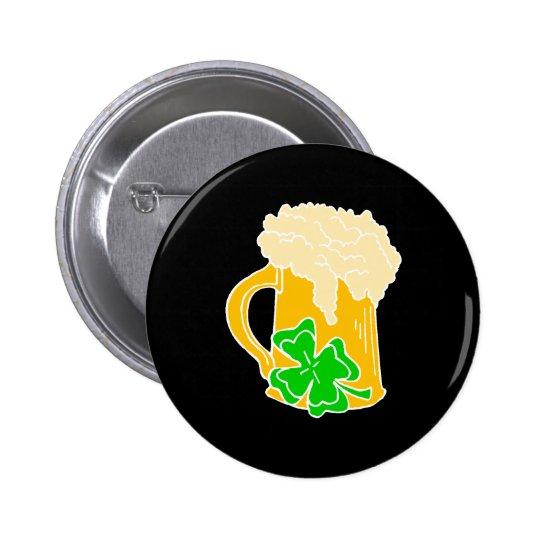 Cerveja e trevo irlandeses bóton redondo 5.08cm