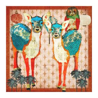 Cervos Azure & arte cor-de-rosa das canvas da fest Impressão De Canvas Esticada