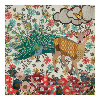 Cervos cor-de-rosa do ouro & poster floral do pavã