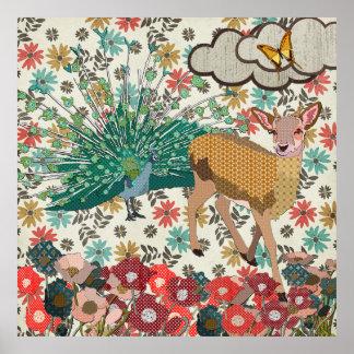 Cervos cor-de-rosa do ouro & poster floral do pôster