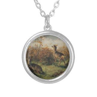 Cervos de ovas por Rosa Bonheur Colar Banhado A Prata