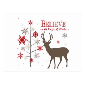 cervos rústicos e flocos de neve do vintage cartão postal