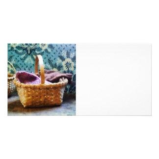 Cesta com confecção de malhas cartão com foto