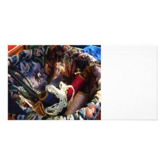 Cesta de Crocheting e de linha Cartões Com Foto