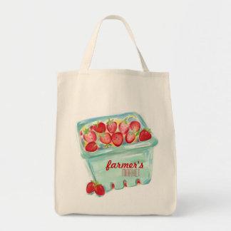 Cesta do bolsa do mercado das morangos